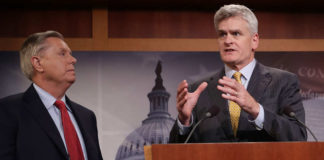 Senator Cassidy, shown speaking, is co-sponsor of the Obamacare repeal bill.