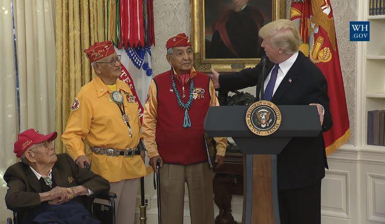 Trump Honors Navajo Code Talkers, Derides Sen. Warren Pocahontas