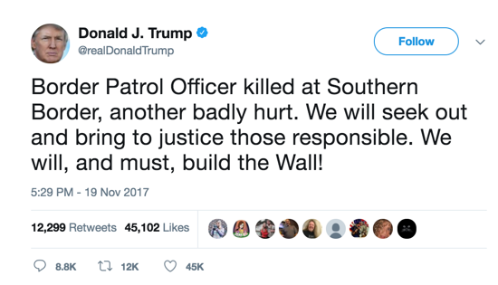 Trump Repeats Call for Wall After Border Patrol Agent Killed