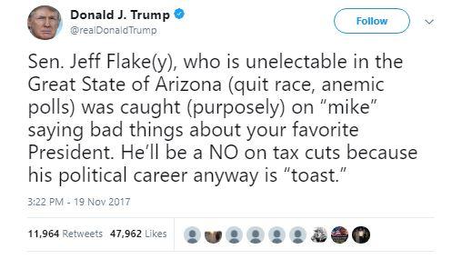 Trump slams Flake as unelectable in Arizona