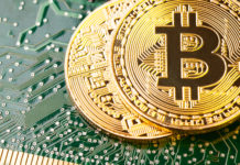 Golden Bitcoin Cryptocurrency on computer circuit board. hedge fund