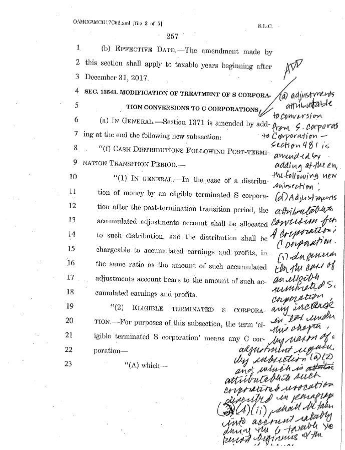GOP tax reform bill handwritten amendment