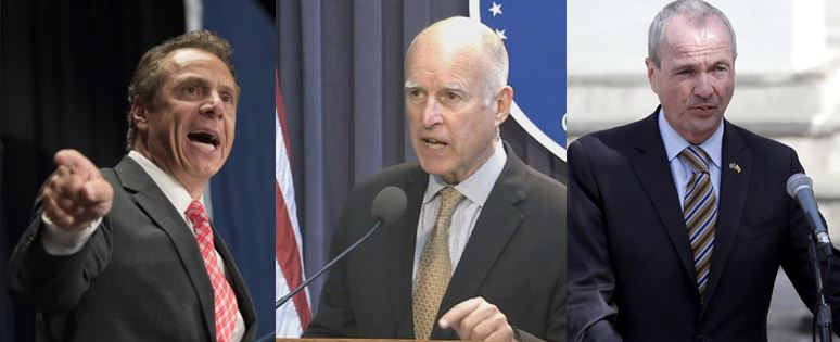 Blue state governors Andrew Cuomo, Jerry Brown, Phil Murphy