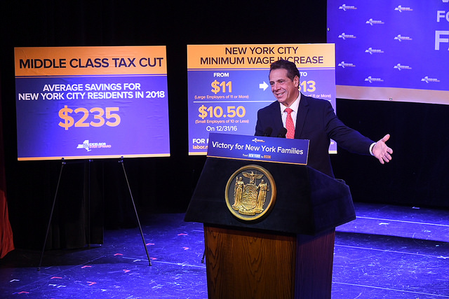 Gov. Andrew Cuomo announces minimum wage hikes, tax cuts
