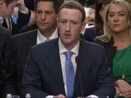 Facebook CEO Mark Zuckerberg at congressional hearing