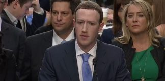Facebook CEO Mark Zuckerberg at congressional hearing