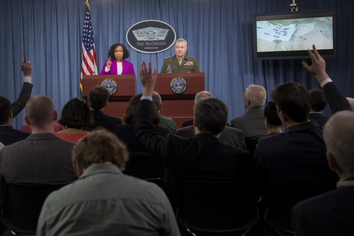 Pentagon officials press briefing about air strikes on Syria