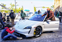 Dwayne Johnson too big to fit in a Porche Taycan