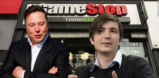 CEO of Tesla Elon Musk and CEO of Robinhood Vladimir Tenev, GameStop sign in the background