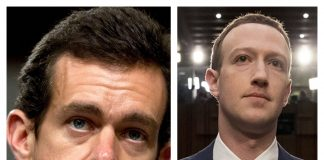 Jack Dorsey and Mark Zuckerberg