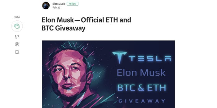 A screenshot of a now-deleted page claiming to be giving away bitcoin from Elon Musk.