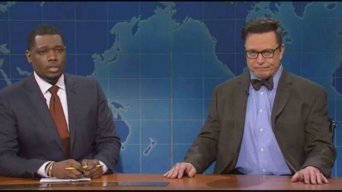 Elon Musk), right, appeared on Saturday Night Live in the guise of 'financial expert' Lloyd Ostertag © NBC (Dogecoin)