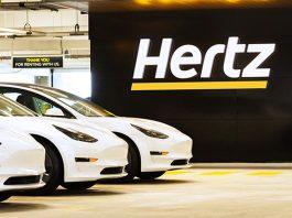 Tesla Model 3 at Hertz airport location